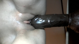 POV of big black dildo stretching a white pussy