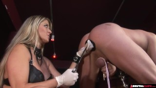 FemDom whips and controls until anal creampie Housewife brunette