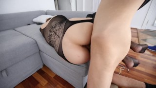 Almost Caught Cheating on Girlfriend with Slutty Teen Stockings hotel