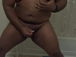 Horny Black Chub Bear needs regular relief - rubs one out