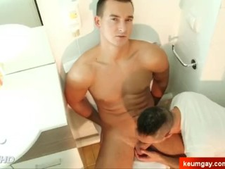 Stef Handsome french hetero guy's big dick to suck in spite of him.
