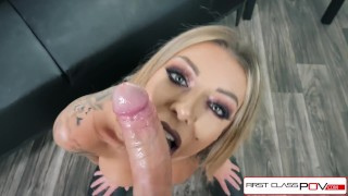 First Class POV - Watch Karma Rx take her mouth and pussy full of dick Heels lingerie