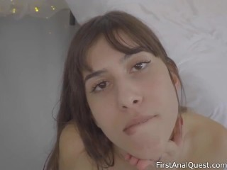 First anal sex of young and shy brunette Anya Krey – FirstAnalQuest.com!