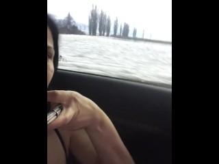Public masturbation in car on the road