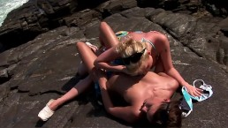 hot girls big tits kissing and licking pussy on a beach outdoor lesbian sex