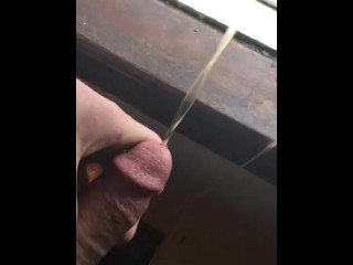 Teen pissing quick out window big cock