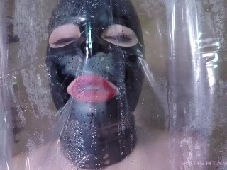 Latex Doll Solo Shower Suck and Fuck