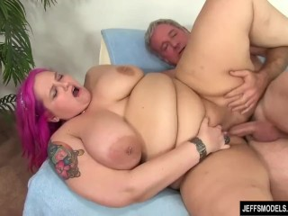 Big Boobed Plumper Sara Star Slams Her Pussy Down on a Thick Cock