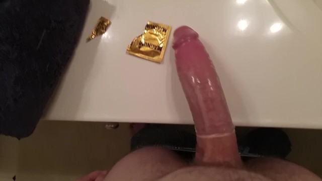 Huge cock stretching small ass - Playing with my huge cock stretching out a magnum
