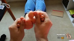 HandJoy * Foot rub + footjob with french pedicure * request by balabamber