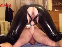 Latex Mistress Sadistra - whipping & fucking slave's asshole