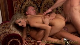 hot skinny blonde slut taking 2 big cocks in every hole anal threesome dp