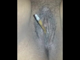 Four twenty ( 420 ) pussy smoking weed blunt