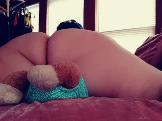 Big Booty BBW Latina Humps Cums on Teddy Bear