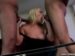 Two big cock for a big wide pussy of a Milf Wife