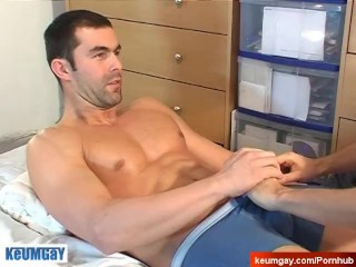 Handsome big balls's hetero male to massage in spite of him