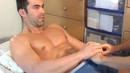 Handsome big balls's hetero male to massage in spite of him