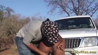 Chubby african babe outdoor fucked