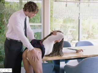 Preview 3 of VIXEN Hot Assistant Blackmails Boss For Sex