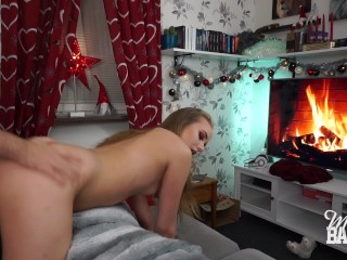 Hot blonde fucked on the couch