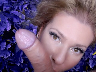 Artistic Dream Porn- Slow Deep Blowjob with Angel on a pillow with flowers.