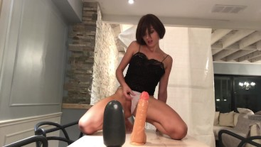 Pussy destroyed by Huge Dildos