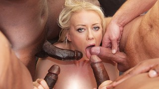 Gangbanged babe anal fucking pussy drilling and swallowing 4 cocks