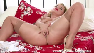 Blonde Milf Olga Cabaeva strips in retro lingerie vintage nylons and wanks