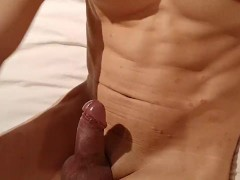 Playing with my hard cock and cumming on my abs
