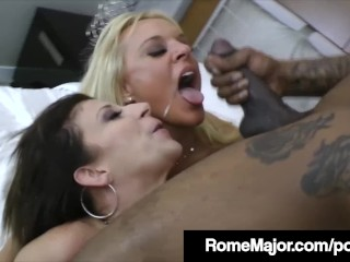 Busty Milfs Sara Jay & Alexis Golden Fuck Rome Major's BBC!