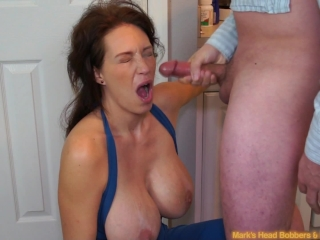 Bianka teases her wet hairless pusy with a big red vibrator