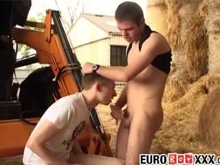 Horny twinks enjoy bareback sex on the construction machine