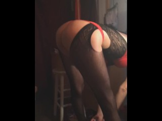Penny shakes her sexy ass in black fishnets, red thong, bra,& heels