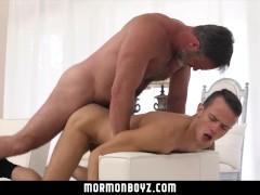 MormonBoyz - Bear Daddy Fucks Teen Rough On Sofa