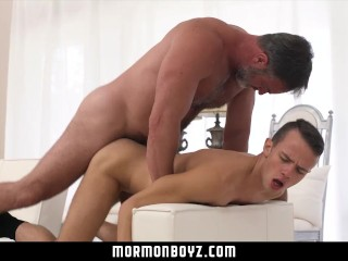 MormonBoyz - Bear Daddy Fucks Teen Rough On Sofa
