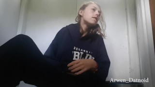 Public masturbating camping bathroom fingering