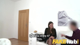 Agent and on casting smartly sucks brunette agent sofa fake fucks dressed doggy fakeagent