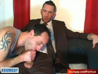 Jerome sexy vendor ets sucked his huge cock in a porn in spite of him !