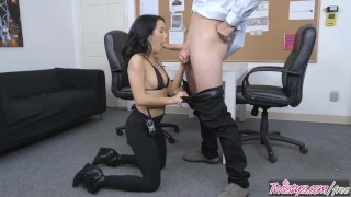 Twistys - Dirty security girl Megan Rain finds concealed cock Bald hand