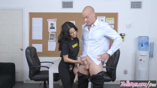 Twistys - Dirty security girl Megan Rain finds concealed cock Drilled threeway