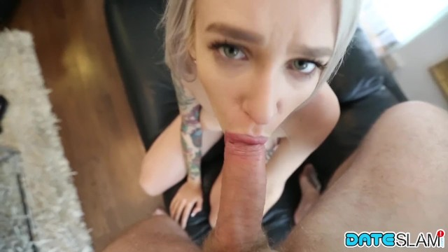 Tattooed big tits Russian sucking after Snapchat Hookup