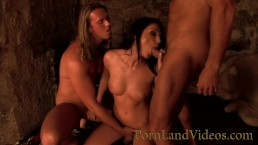 2 big cocks sharing sexy brunette slut pussy in hot threesome cum in mouth