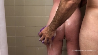 PAINAL Submissive Girl Gets Her Tight Little Ass Fucked In The Shower Big brunette