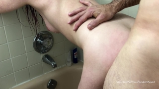 PAINAL Submissive Girl Gets Her Tight Little Ass Fucked In The Shower Doggy hardcore
