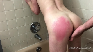 Gets the ass shower submissive girl little tight her fucked painal in it spanking