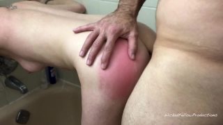 Tight little ass painal girl gets the shower submissive in her fucked creampie begging