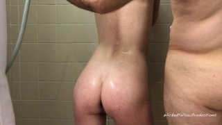 PAINAL Submissive Girl Gets Her Tight Little Ass Fucked In The Shower