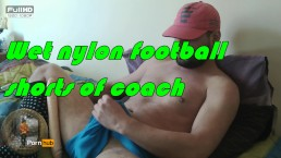 IT student soccer player masturbate and cum in a nylon shorts of coach.