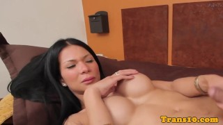 Busty latina tgirl spreads cheeks and tugs Pornstar pussy