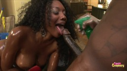 Big Ebony Booty Rides Big Black Cock and Gets Anal Creampie